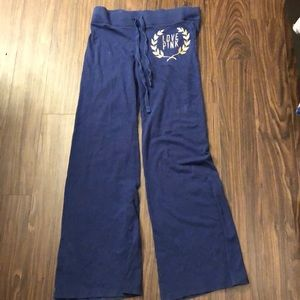 Navy blue sweats with gold PINK symbol